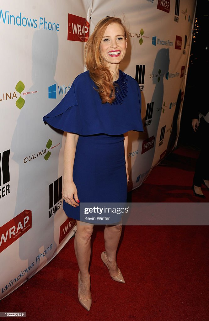 Actress <a gi-track='captionPersonalityLinkClicked' href=/galleries/search?phrase=Jessica+Chastain&family=editorial&specificpeople=653192 ng-click='$event.stopPropagation()'>Jessica Chastain</a> arrives at TheWrap 4th Annual Pre-Oscar Party at Four Seasons Hotel Los Angeles at Beverly Hills on February 20, 2013 in Beverly Hills, California.