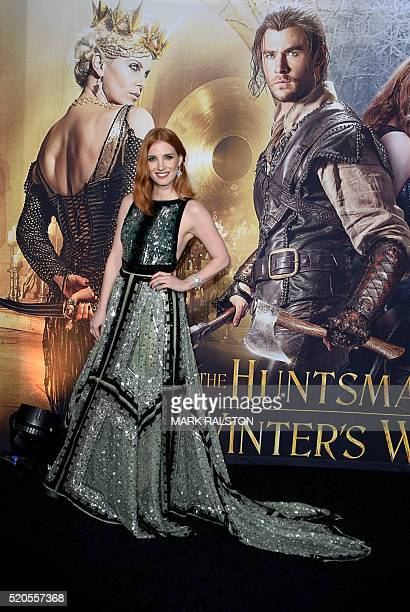 Actress Jessica Chastain arrives for the premiere of Universal Pictures' 'The Huntsman Winter's War' at the Regency Village Theatre in Westwood...