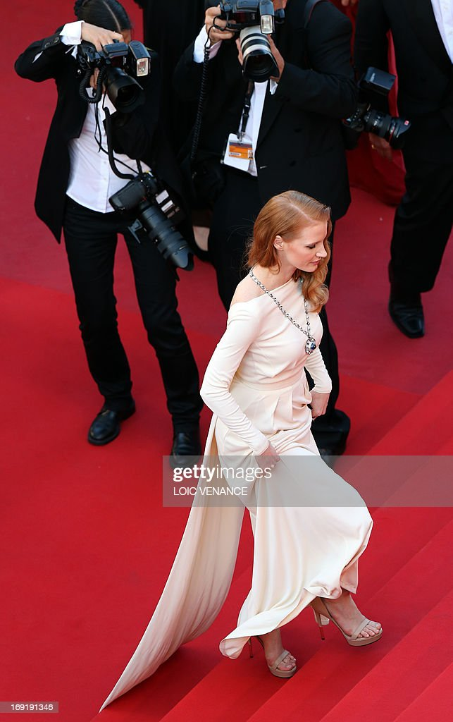 US actress Jessica Chastain arrives on May 21, 2013 for the screening of the film 'Cleopatra' presented in Cannes Classics at the 66th edition of the Cannes Film Festival in Cannes. Cannes, one of the world's top film festivals, opened on May 15 and will climax on May 26 with awards selected by a jury headed this year by Hollywood legend Steven Spielberg.