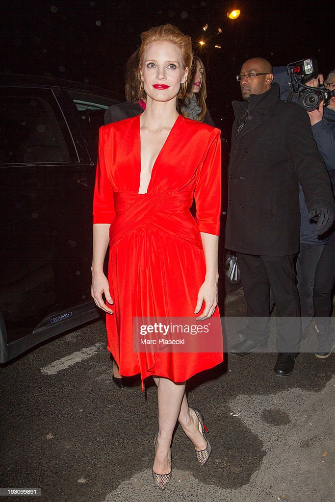 Actress <a gi-track='captionPersonalityLinkClicked' href=/galleries/search?phrase=Jessica+Chastain&family=editorial&specificpeople=653192 ng-click='$event.stopPropagation()'>Jessica Chastain</a> arrives to attend the 'Saint Laurent' Fall/Winter 2013 Ready-to-Wear show as part of Paris Fashion Week on March 4, 2013 in Paris, France.