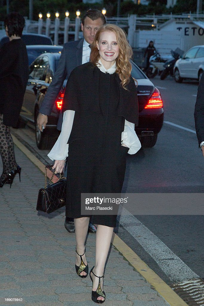 Actress <a gi-track='captionPersonalityLinkClicked' href=/galleries/search?phrase=Jessica+Chastain&family=editorial&specificpeople=653192 ng-click='$event.stopPropagation()'>Jessica Chastain</a> arrives to attend the 'Vanity Fair Chanel' dinner at 'Tetou' restaurant during the 66th Annual Cannes Film Festival on May 19, 2013 in Le Golfe Juan, France.