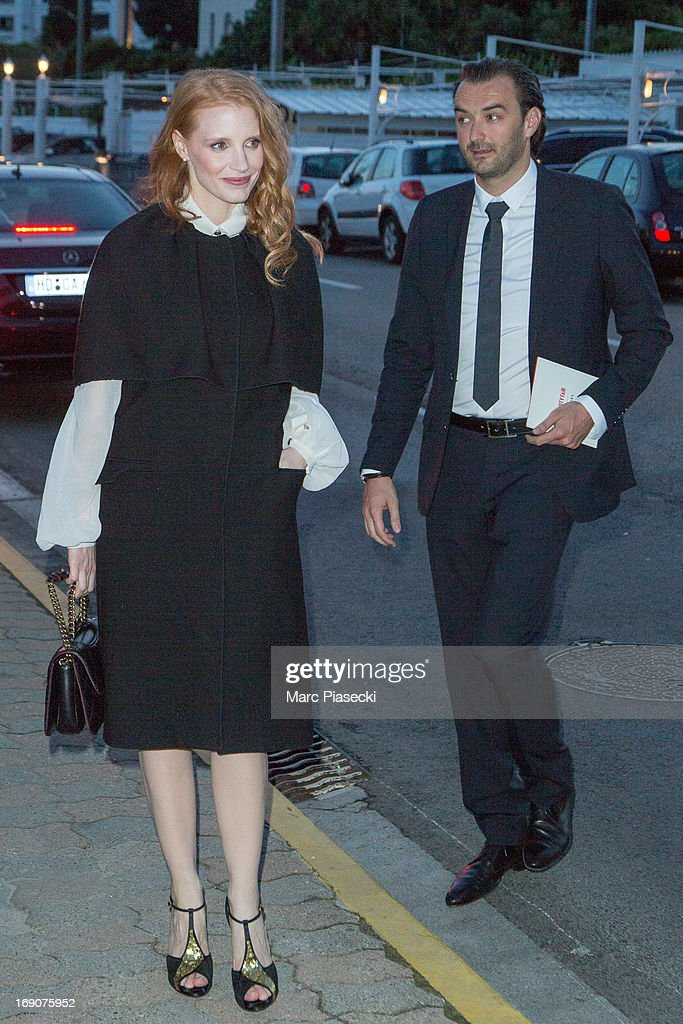 Actress Jessica Chastain arrives to attend the 'Vanity Fair Chanel' dinner at 'Tetou' restaurant during the 66th Annual Cannes Film Festival on May 19, 2013 in Le Golfe Juan, France.