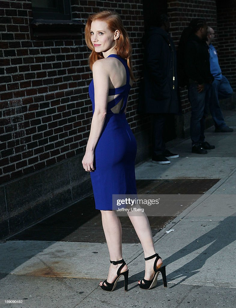 Actress <a gi-track='captionPersonalityLinkClicked' href=/galleries/search?phrase=Jessica+Chastain&family=editorial&specificpeople=653192 ng-click='$event.stopPropagation()'>Jessica Chastain</a> arrives to 'Late Show with David Letterman' at Ed Sullivan Theater on January 7, 2013 in New York City.