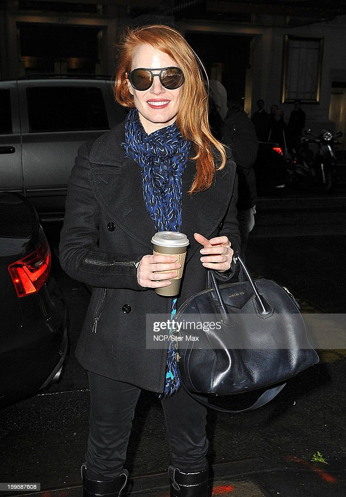 Actress <a gi-track='captionPersonalityLinkClicked' href=/galleries/search?phrase=Jessica+Chastain&family=editorial&specificpeople=653192 ng-click='$event.stopPropagation()'>Jessica Chastain</a> as seen on January 16, 2013 in New York City.