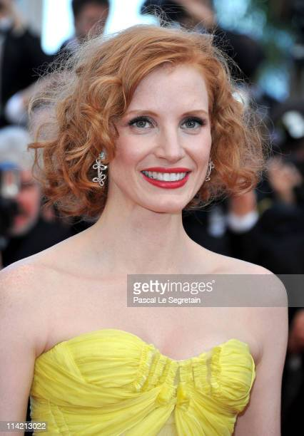 Actress Jessica Chastain attend 'The Tree Of Life' premiere during the 64th Annual Cannes Film Festival at Palais des Festivals on May 16 2011 in...