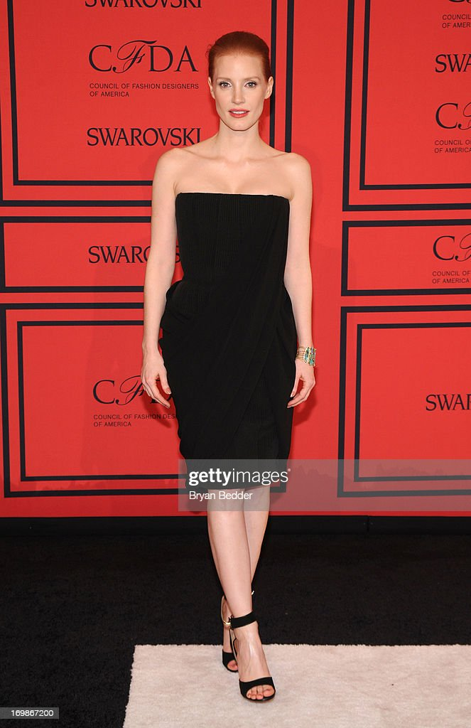 Actress <a gi-track='captionPersonalityLinkClicked' href=/galleries/search?phrase=Jessica+Chastain&family=editorial&specificpeople=653192 ng-click='$event.stopPropagation()'>Jessica Chastain</a> attends 2013 CFDA FASHION AWARDS Underwritten By Swarovski - Red Carpet Arrivals at Lincoln Center on June 3, 2013 in New York City.