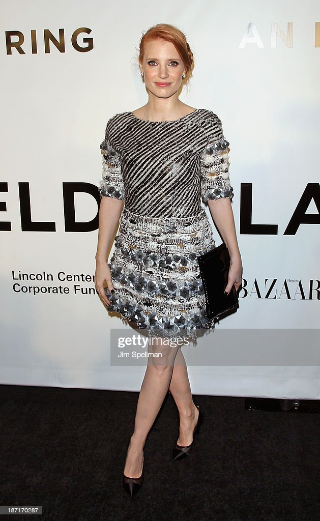 Actress Jessica Chastain attends An Evening Honoring Karl Lagerfeld at Alice Tully Hall on November 6, 2013 in New York City.
