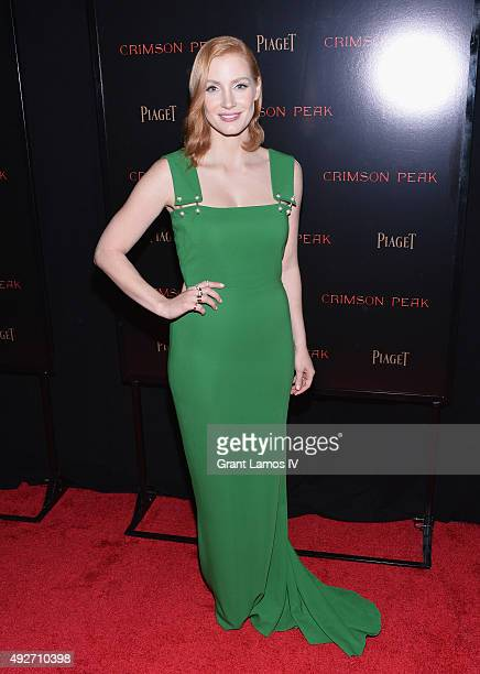 Actress Jessica Chastain attends 'Crimson Peak' New York Premiere at AMC Loews Lincoln Square on October 14 2015 in New York City