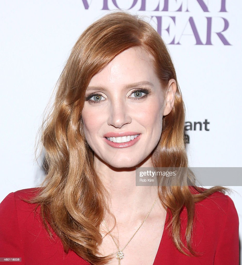 Actress <a gi-track='captionPersonalityLinkClicked' href=/galleries/search?phrase=Jessica+Chastain&family=editorial&specificpeople=653192 ng-click='$event.stopPropagation()'>Jessica Chastain</a> attends Giorgio Armani Presents The New York Premiere Of A24's 'A Most Violent Year' at Florence Gould Hall Theater on December 7, 2014 in New York City.