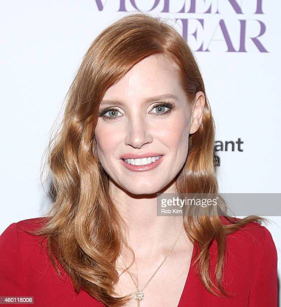 Actress Jessica Chastain attends Giorgio Armani Presents The New York Premiere Of A24's 'A Most Violent Year' at Florence Gould Hall Theater on...