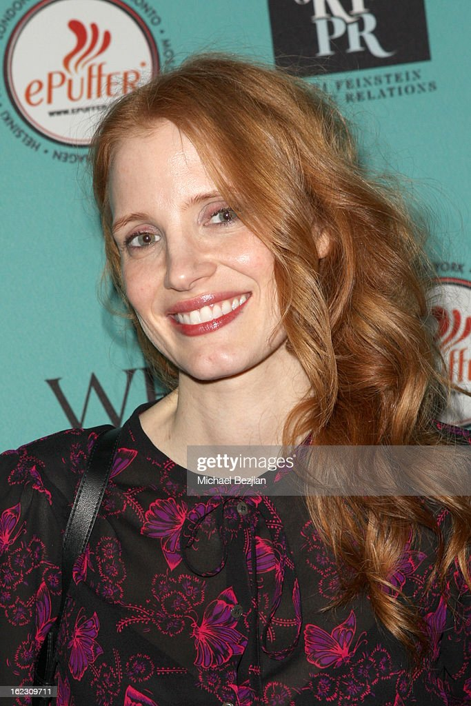 Actress <a gi-track='captionPersonalityLinkClicked' href=/galleries/search?phrase=Jessica+Chastain&family=editorial&specificpeople=653192 ng-click='$event.stopPropagation()'>Jessica Chastain</a> attends Kari Feinstein's Pre-Academy Awards Style Lounge at W Hollywood on February 21, 2013 in Hollywood, California.