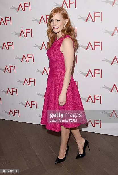 Actress Jessica Chastain attends the 15th Annual AFI Awards at Four Seasons Hotel Los Angeles at Beverly Hills on January 9 2015 in Beverly Hills...