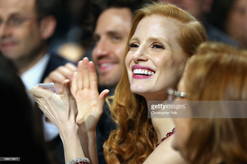 Actress <a gi-track='captionPersonalityLinkClicked' href=/galleries/search?phrase=Jessica+Chastain&family=editorial&specificpeople=653192 ng-click='$event.stopPropagation()'>Jessica Chastain</a> attends the 18th Annual Critics' Choice Movie Awards held at Barker Hangar on January 10, 2013 in Santa Monica, California.