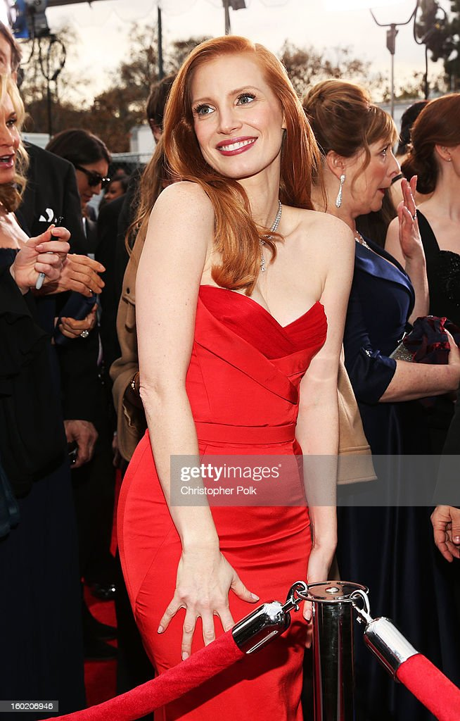Actress Jessica Chastain attends the 19th Annual Screen Actors Guild Awards at The Shrine Auditorium on January 27, 2013 in Los Angeles, California. (Photo by Christopher Polk/WireImage) 23116_012_0499.jpg