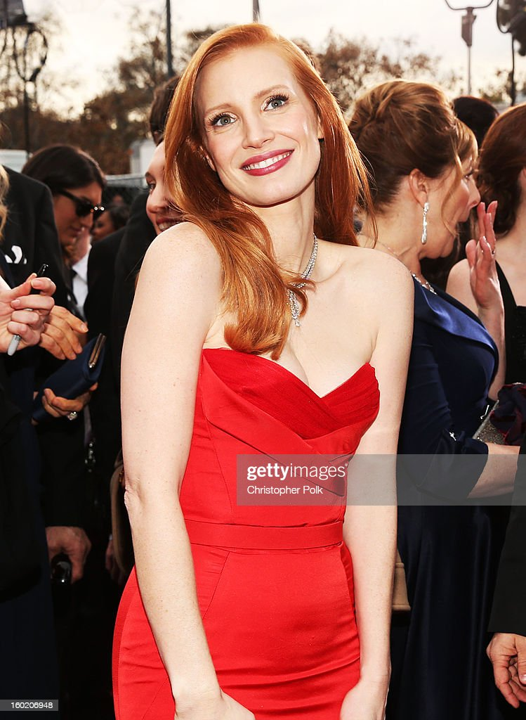 Actress Jessica Chastain attends the 19th Annual Screen Actors Guild Awards at The Shrine Auditorium on January 27, 2013 in Los Angeles, California. (Photo by Christopher Polk/WireImage) 23116_012_0498.jpg