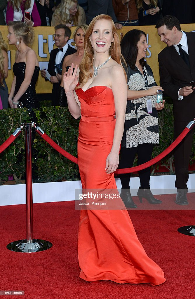 Actress <a gi-track='captionPersonalityLinkClicked' href=/galleries/search?phrase=Jessica+Chastain&family=editorial&specificpeople=653192 ng-click='$event.stopPropagation()'>Jessica Chastain</a> attends the 19th Annual Screen Actors Guild Awards at The Shrine Auditorium on January 27, 2013 in Los Angeles, California.