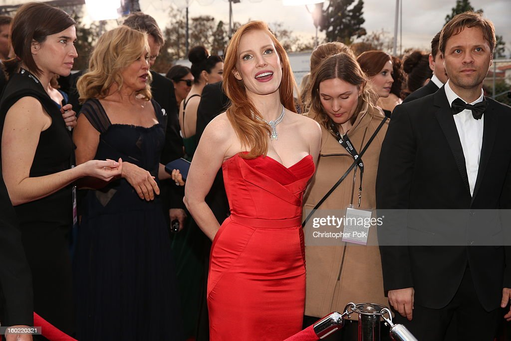 Actress <a gi-track='captionPersonalityLinkClicked' href=/galleries/search?phrase=Jessica+Chastain&family=editorial&specificpeople=653192 ng-click='$event.stopPropagation()'>Jessica Chastain</a> attends the 19th Annual Screen Actors Guild Awards at The Shrine Auditorium on January 27, 2013 in Los Angeles, California. (Photo by Christopher Polk/WireImage) 23116_012_0493.JPG