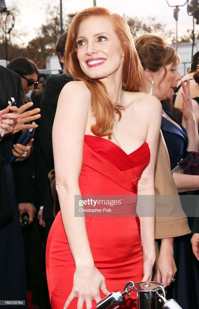 Actress <a gi-track='captionPersonalityLinkClicked' href=/galleries/search?phrase=Jessica+Chastain&family=editorial&specificpeople=653192 ng-click='$event.stopPropagation()'>Jessica Chastain</a> attends the 19th Annual Screen Actors Guild Awards at The Shrine Auditorium on January 27, 2013 in Los Angeles, California. (Photo by Christopher Polk/WireImage) 23116_012_0500.JPG