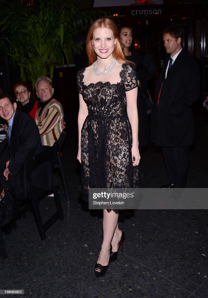 Actress <a gi-track='captionPersonalityLinkClicked' href=/galleries/search?phrase=Jessica+Chastain&family=editorial&specificpeople=653192 ng-click='$event.stopPropagation()'>Jessica Chastain</a> attends the 2012 New York Film Critics Circle Awards at Crimson on January 7, 2013 in New York City.