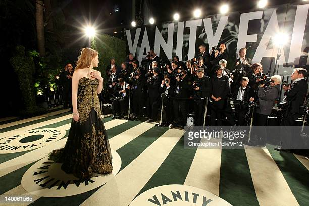 Actress Jessica Chastain attends the 2012 Vanity Fair Oscar Party Hosted By Graydon Carter at Sunset Tower on February 26 2012 in West Hollywood...