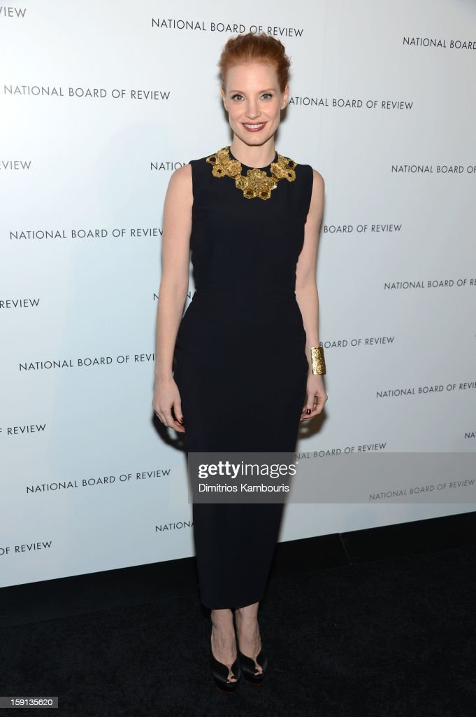 Actress <a gi-track='captionPersonalityLinkClicked' href=/galleries/search?phrase=Jessica+Chastain&family=editorial&specificpeople=653192 ng-click='$event.stopPropagation()'>Jessica Chastain</a> attends the 2013 National Board Of Review Awards Gala at Cipriani 42nd Street on January 8, 2013 in New York City.