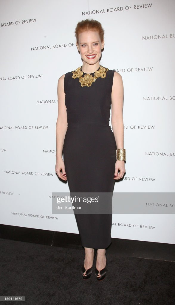 Actress <a gi-track='captionPersonalityLinkClicked' href=/galleries/search?phrase=Jessica+Chastain&family=editorial&specificpeople=653192 ng-click='$event.stopPropagation()'>Jessica Chastain</a> attends the 2013 National Board Of Review Awards Gala at Cipriani Wall Street on January 8, 2013 in New York City.