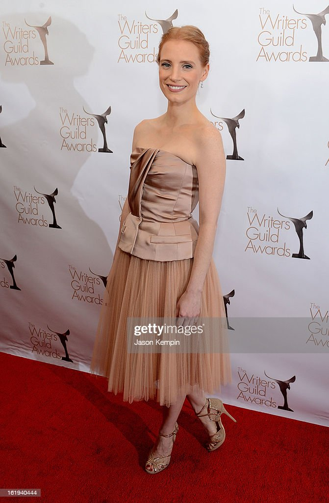 Actress <a gi-track='captionPersonalityLinkClicked' href=/galleries/search?phrase=Jessica+Chastain&family=editorial&specificpeople=653192 ng-click='$event.stopPropagation()'>Jessica Chastain</a> attends the 2013 WGAw Writers Guild Awards at the JW Marriott Los Angeles at L.A. LIVE on February 17, 2013 in Los Angeles, California.