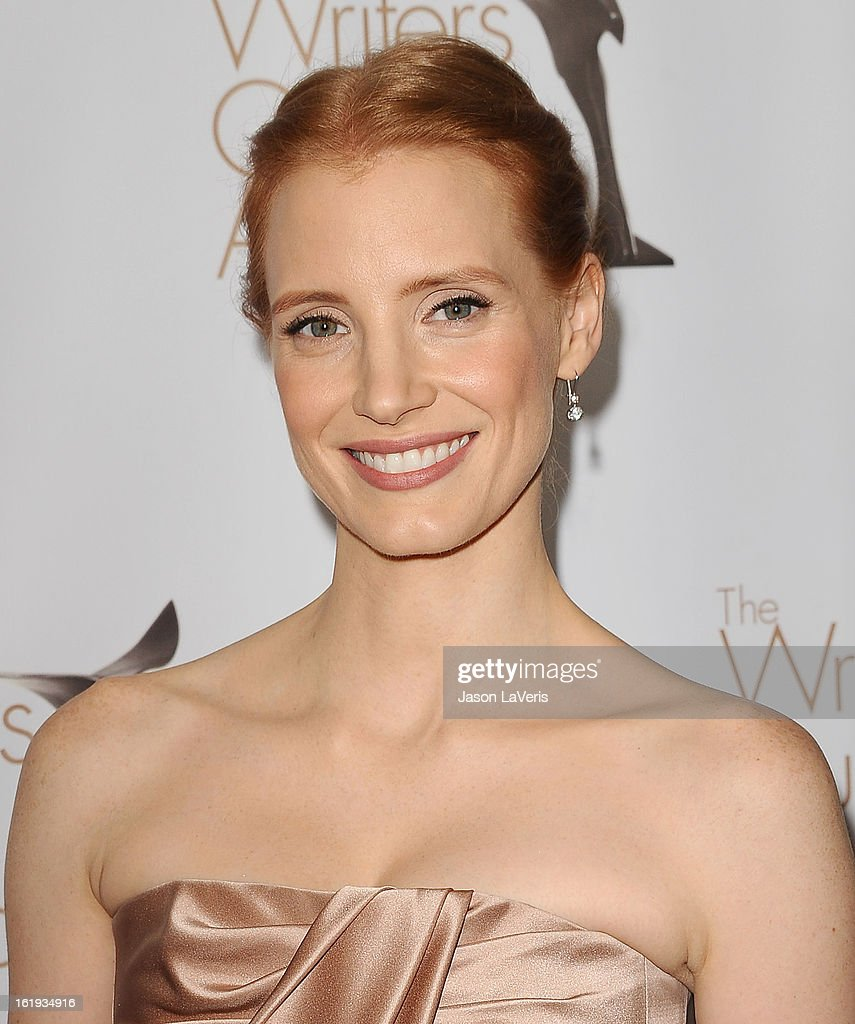 Actress Jessica Chastain attends the 2013 Writers Guild Awards at JW Marriott Los Angeles at L.A. LIVE on February 17, 2013 in Los Angeles, California.