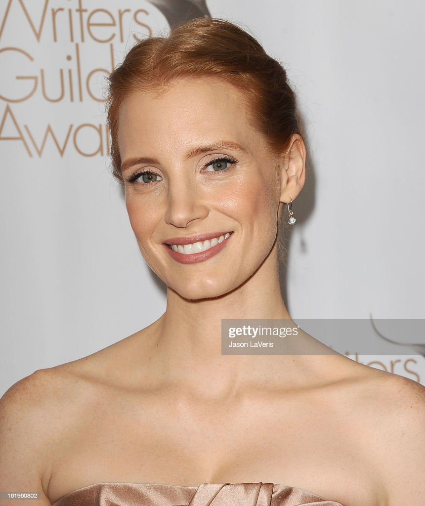 Actress <a gi-track='captionPersonalityLinkClicked' href=/galleries/search?phrase=Jessica+Chastain&family=editorial&specificpeople=653192 ng-click='$event.stopPropagation()'>Jessica Chastain</a> attends the 2013 Writers Guild Awards at JW Marriott Los Angeles at L.A. LIVE on February 17, 2013 in Los Angeles, California.