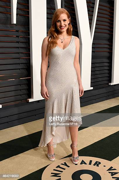 Actress Jessica Chastain attends the 2015 Vanity Fair Oscar Party hosted by Graydon Carter at the Wallis Annenberg Center for the Performing Arts on...
