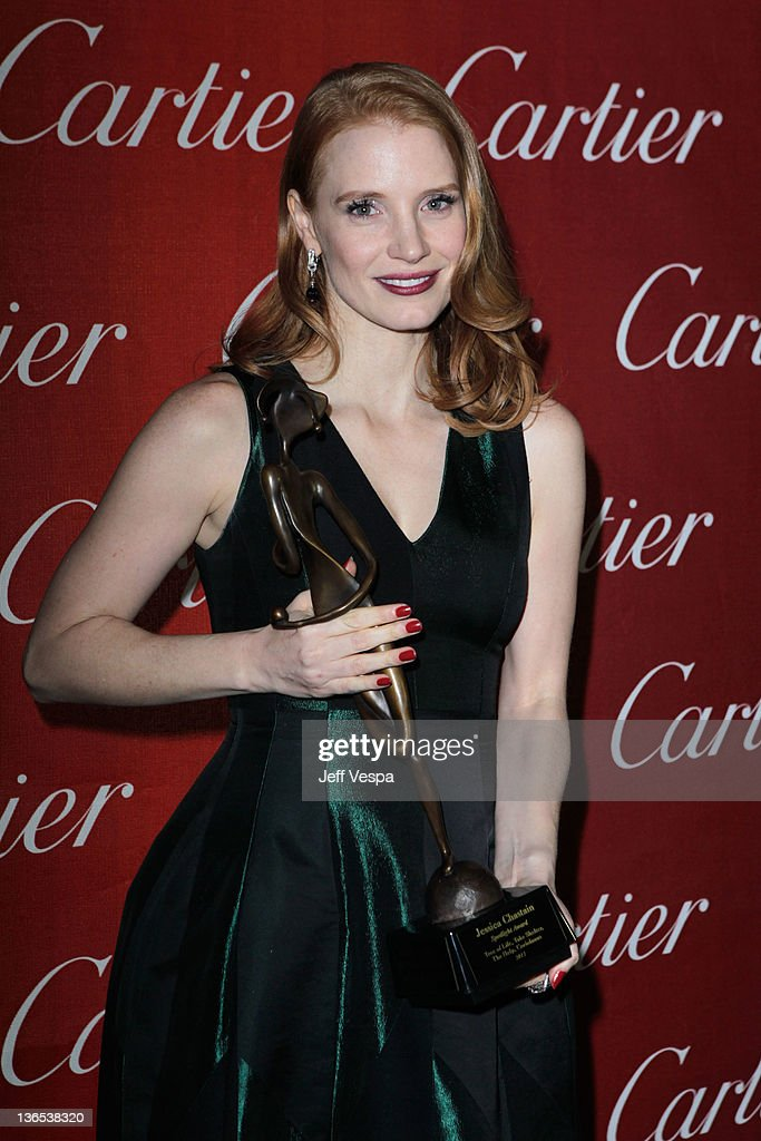 Actress <a gi-track='captionPersonalityLinkClicked' href=/galleries/search?phrase=Jessica+Chastain&family=editorial&specificpeople=653192 ng-click='$event.stopPropagation()'>Jessica Chastain</a> attends The 23rd Annual Palm Springs International Film Festival Awards Gala at the Palm Springs Convention Center on January 7, 2012 in Palm Springs, California.