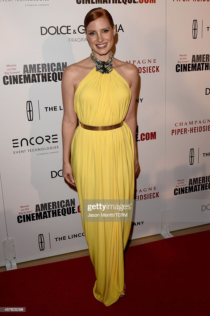 Actress Jessica Chastain attends the 28th American Cinematheque Award honoring Matthew McConaughey at The Beverly Hilton Hotel on October 21 2014 in...