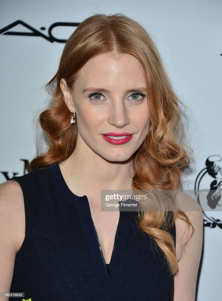 Actress <a gi-track='captionPersonalityLinkClicked' href=/galleries/search?phrase=Jessica+Chastain&family=editorial&specificpeople=653192 ng-click='$event.stopPropagation()'>Jessica Chastain</a> attends the 6th Annual Women In Film Pre-Oscar Party hosted by Perrier Jouet, MAC Cosmetics and MaxMara at Fig & Olive on February 22, 2013 in Los Angeles, California.