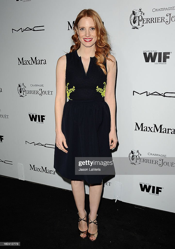 Actress <a gi-track='captionPersonalityLinkClicked' href=/galleries/search?phrase=Jessica+Chastain&family=editorial&specificpeople=653192 ng-click='$event.stopPropagation()'>Jessica Chastain</a> attends the 6th annual Women In Film pre-Oscar cocktail party at Fig & Olive Melrose Place on February 22, 2013 in West Hollywood, California.