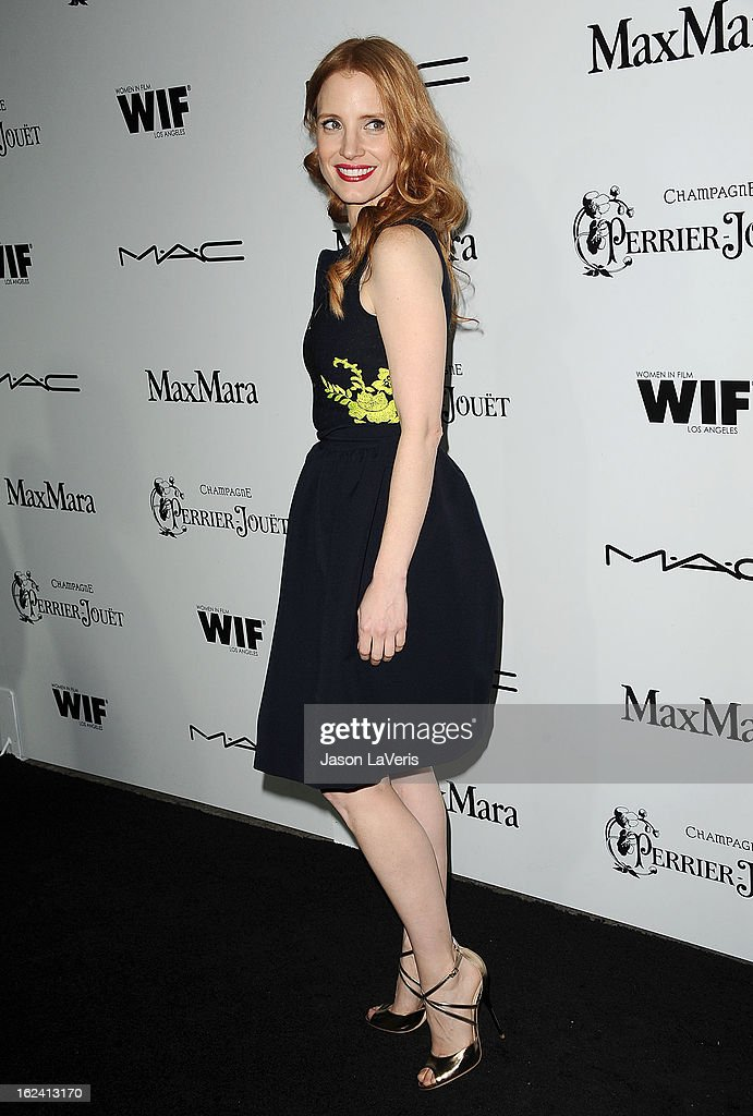 Actress Jessica Chastain attends the 6th annual Women In Film pre-Oscar cocktail party at Fig & Olive Melrose Place on February 22, 2013 in West Hollywood, California.