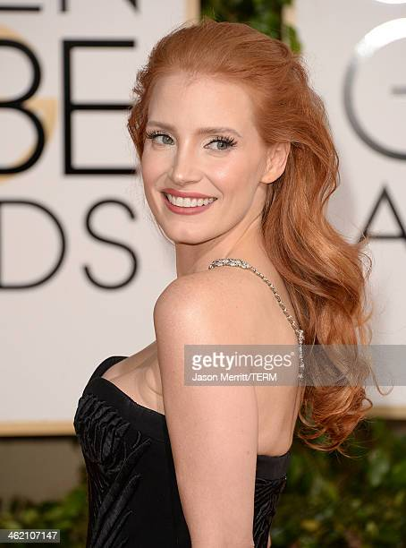 Actress Jessica Chastain attends the 71st Annual Golden Globe Awards held at The Beverly Hilton Hotel on January 12 2014 in Beverly Hills California