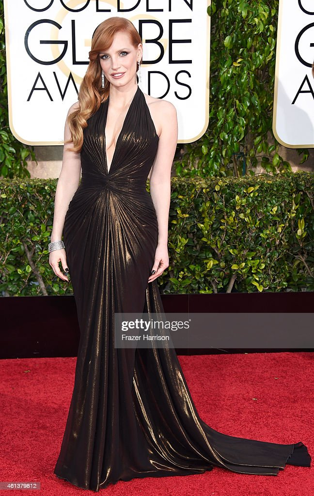 Actress Jessica Chastain attends the 72nd Annual Golden Globe Awards at The Beverly Hilton Hotel on January 11, 2015 in Beverly Hills, California.