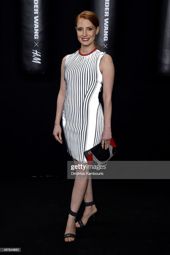 Actress Jessica Chastain attends the Alexander Wang X HM Launch on October 16 2014 in New York City