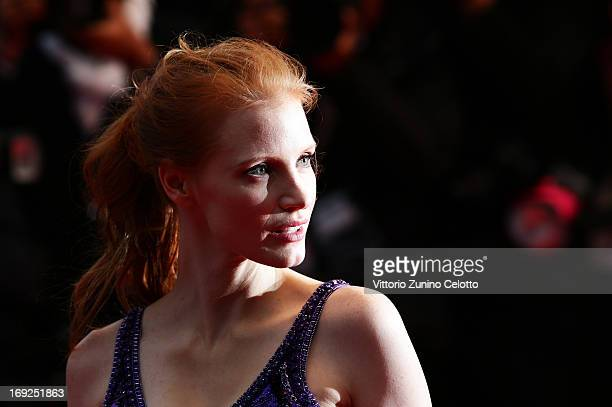 Actress Jessica Chastain attends the 'All Is Lost' Premiere during the 66th Annual Cannes Film Festival at Palais des Festivals on May 22 2013 in...