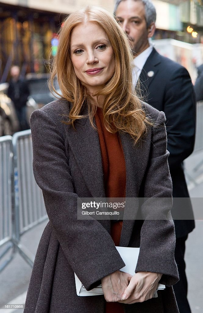 Actress <a gi-track='captionPersonalityLinkClicked' href=/galleries/search?phrase=Jessica+Chastain&family=editorial&specificpeople=653192 ng-click='$event.stopPropagation()'>Jessica Chastain</a> attends the Calvin Klein Collection 2013 Mercedes-Benz Fashion Show at 205 West 39th Street on February 14, 2013 in New York City.