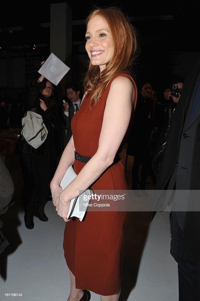 Actress Jessica Chastain attends the Calvin Klein Collection Fall 2013 fashion show during Mercedes-Benz Fashion Week at 205 West 39th Street on February 14, 2013 in New York City.