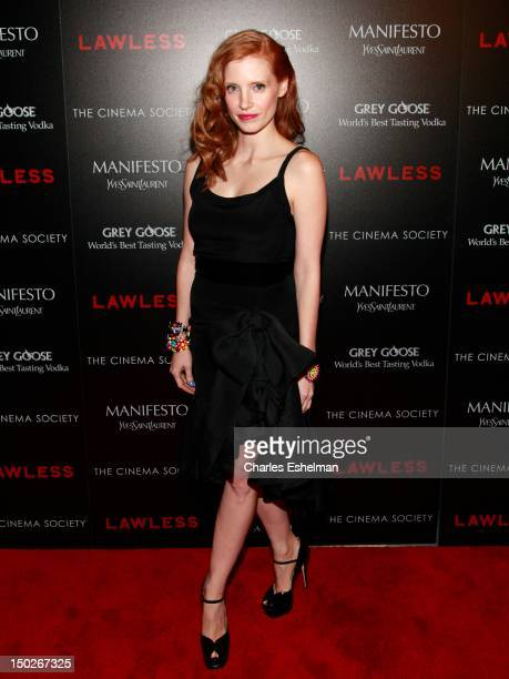 Actress Jessica Chastain attends The Cinema Society Manifesto Yves Saint Laurent screening of The Weinstein Company's 'Lawless' at The Paley Center...
