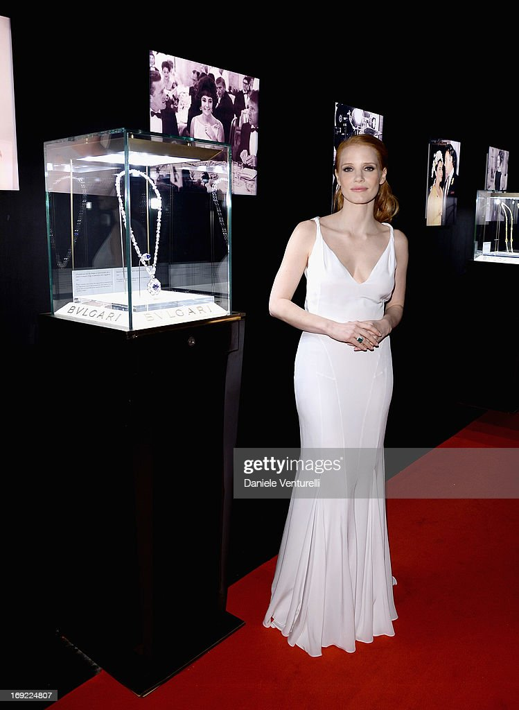 Actress <a gi-track='captionPersonalityLinkClicked' href=/galleries/search?phrase=Jessica+Chastain&family=editorial&specificpeople=653192 ng-click='$event.stopPropagation()'>Jessica Chastain</a> attends the 'Cleopatra' cocktail hosted by Bulgari during The 66th Annual Cannes Film Festival at JW Marriott on May 21, 2013 in Cannes, France.