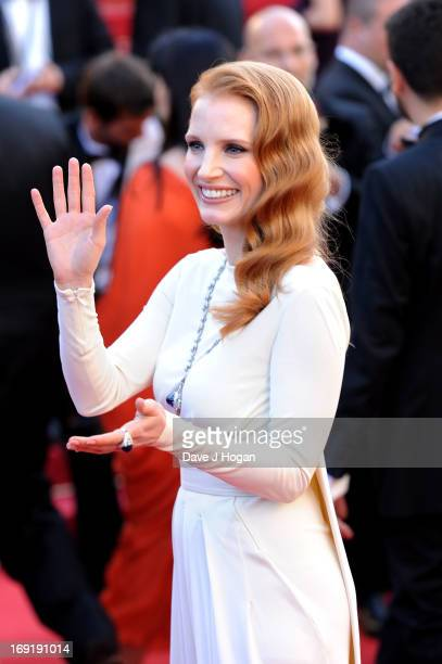 Actress Jessica Chastain attends the 'Cleopatra' premiere during The 66th Annual Cannes Film Festival at The 60th Anniversary Theatre on May 21 2013...