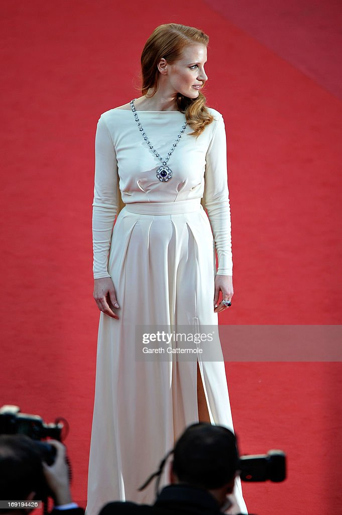 Actress <a gi-track='captionPersonalityLinkClicked' href=/galleries/search?phrase=Jessica+Chastain&family=editorial&specificpeople=653192 ng-click='$event.stopPropagation()'>Jessica Chastain</a> attends the 'Cleopatra' premiere during The 66th Annual Cannes Film Festival at The 60th Anniversary Theatre on May 21, 2013 in Cannes, France.