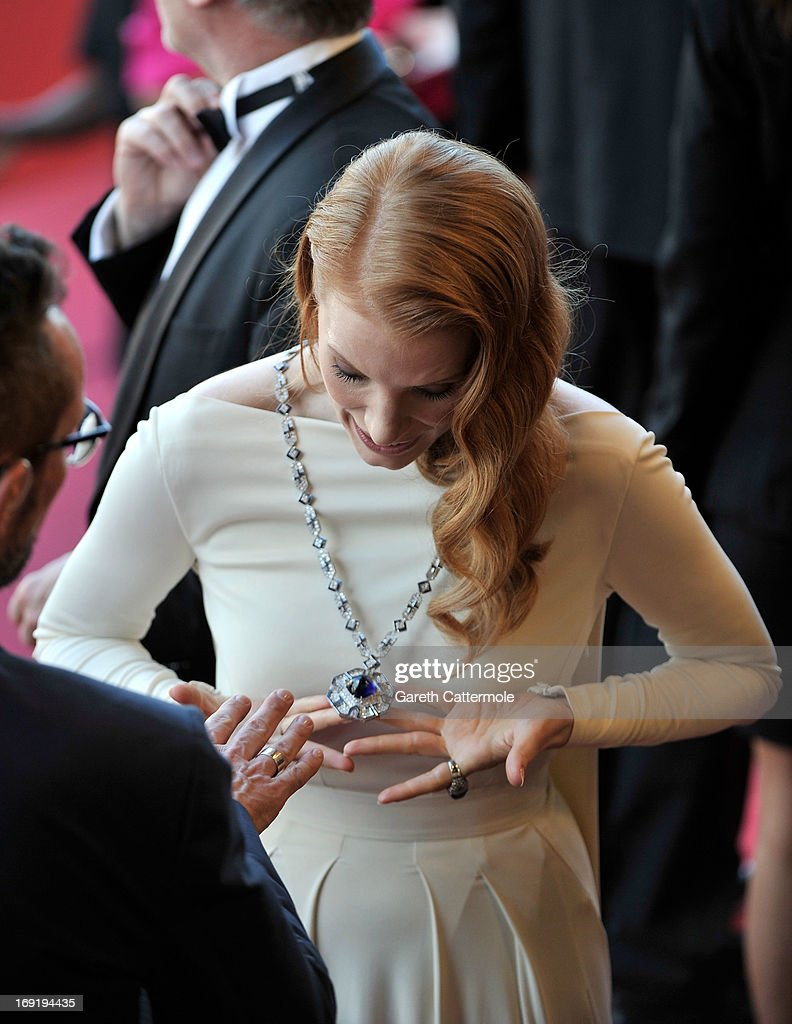 Actress Jessica Chastain attends the 'Cleopatra' premiere during The 66th Annual Cannes Film Festival at The 60th Anniversary Theatre on May 21, 2013 in Cannes, France.