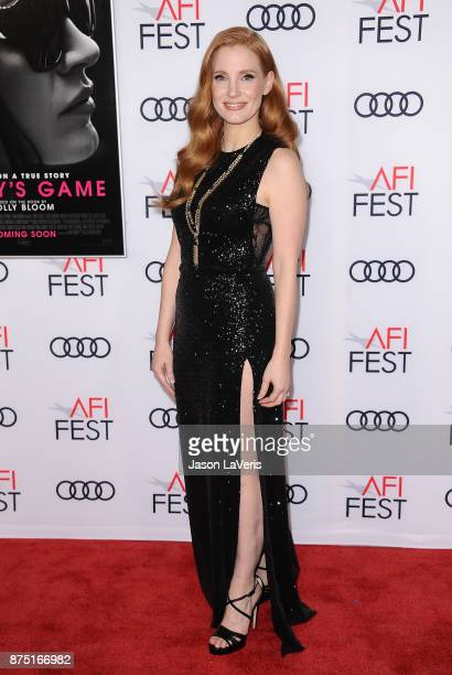 Actress Jessica Chastain attends the closing night gala screening of 'Molly's Game' at the 2017 AFI Fest at TCL Chinese Theatre on November 16 2017...