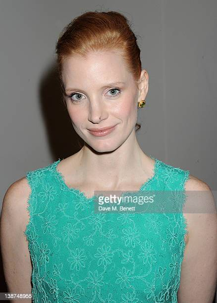 Actress Jessica Chastain attends the Dreamworks PreBAFTA Tea Party in celebration of 'The Help' and 'War Horse' at The Arts Club on February 11 2012...