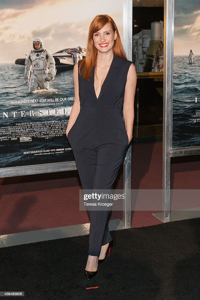 Actress Jessica Chastain attends the 'Interstellar' premiere at the National Air and Space Museum on November 5 2014 in Washington DC