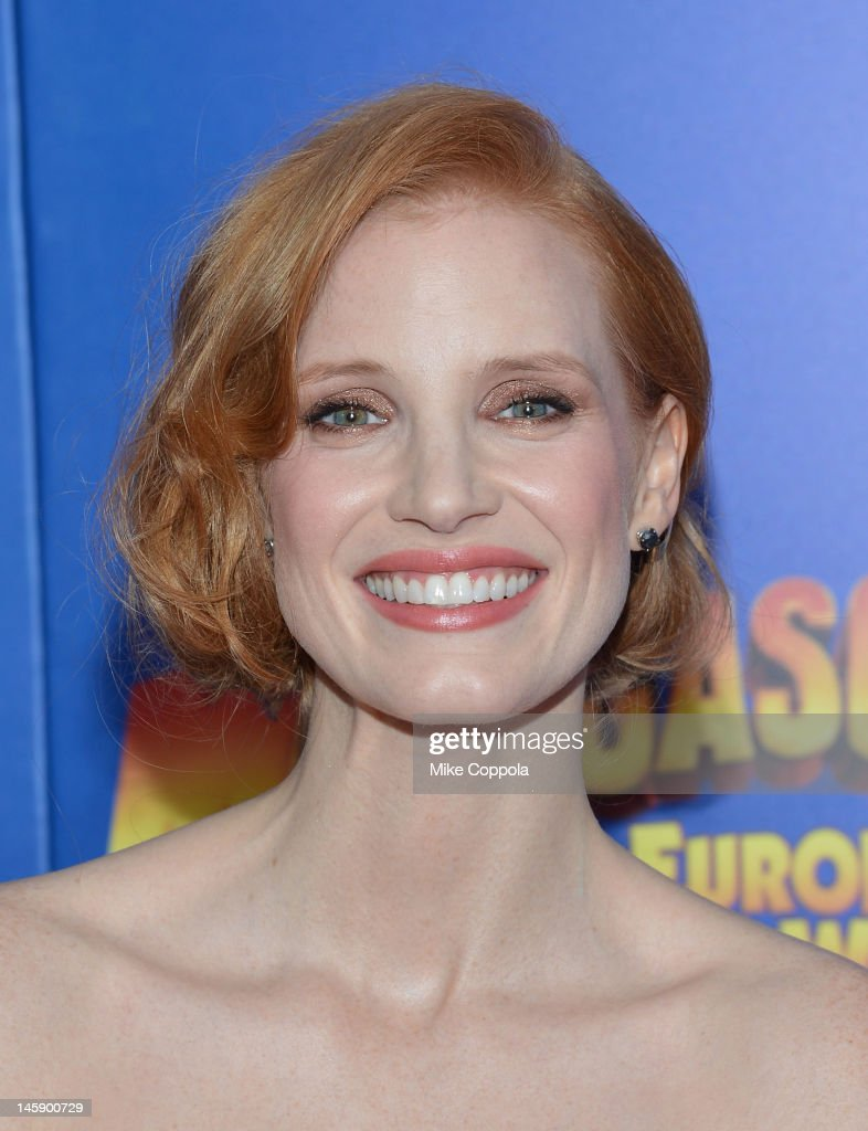 Actress <a gi-track='captionPersonalityLinkClicked' href=/galleries/search?phrase=Jessica+Chastain&family=editorial&specificpeople=653192 ng-click='$event.stopPropagation()'>Jessica Chastain</a> attends the 'Madagascar 3: Europe's Most Wanted' New York Premier at Ziegfeld Theatre on June 7, 2012 in New York City.